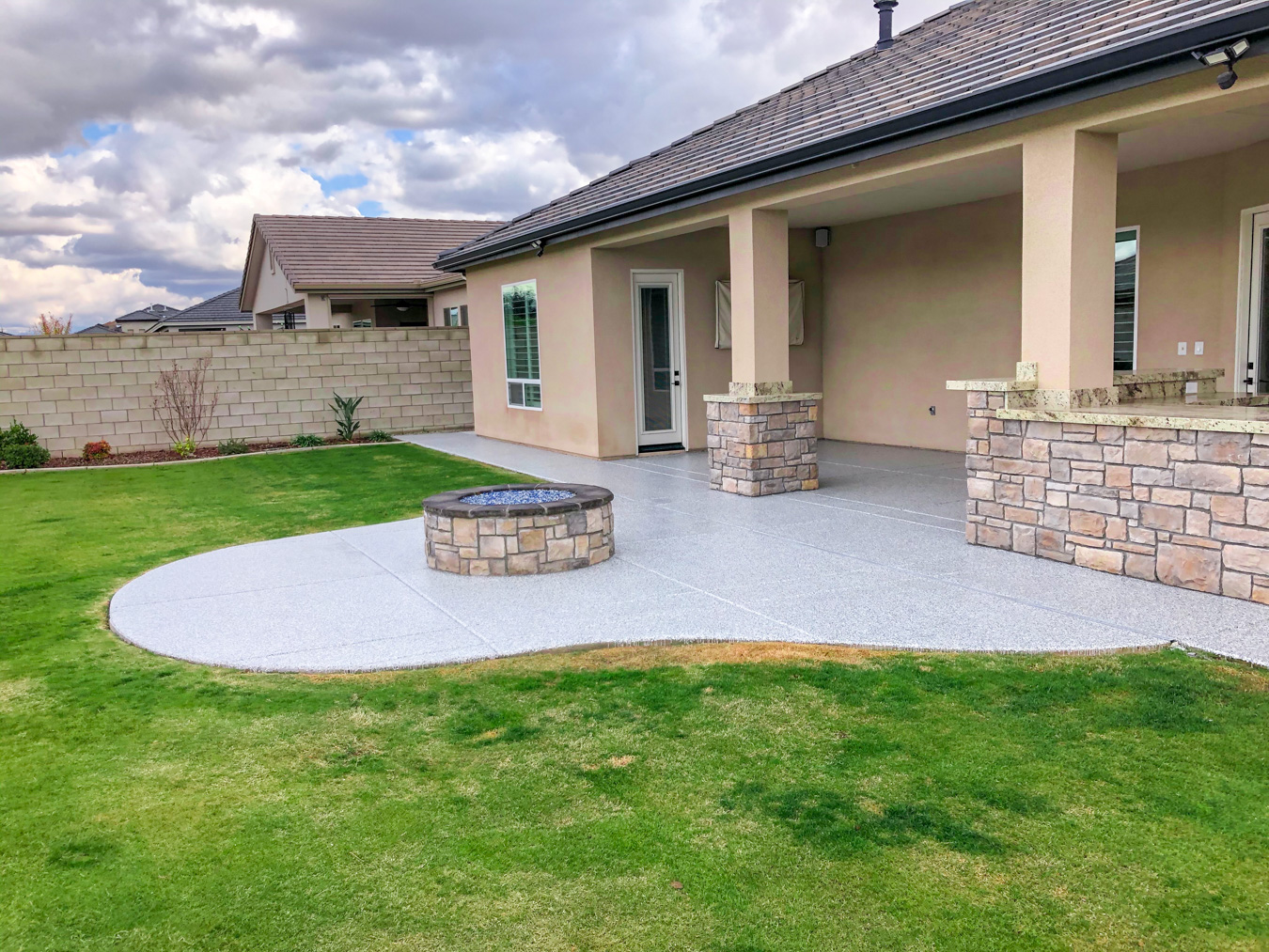 Concrete Flooring on a Patio and around fire pit