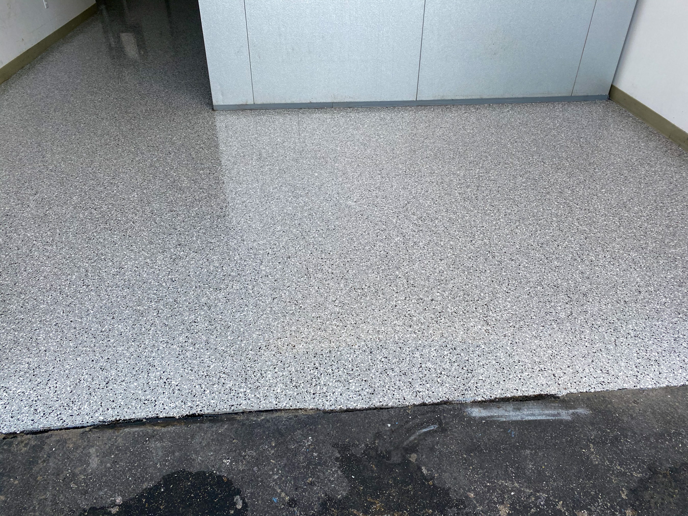commercial flooring after epoxy coating process