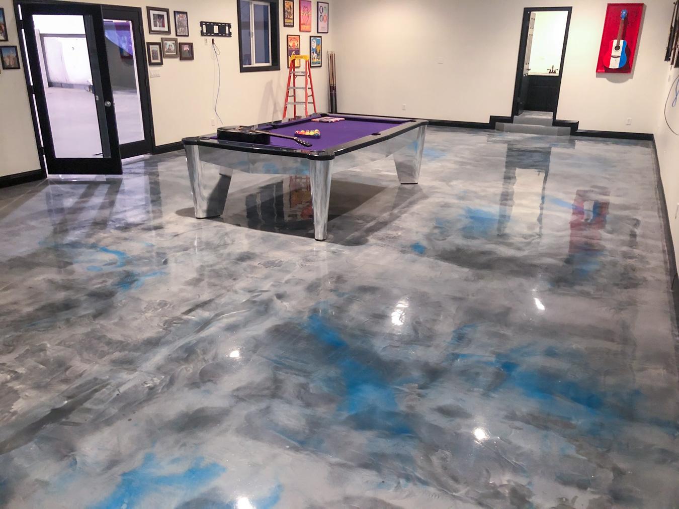 Game Room Metallic Concrete Flooring